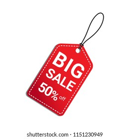 Big sale 50 percent off red tag with shadow on white background