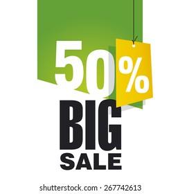 Big Sale 50 percent off green background