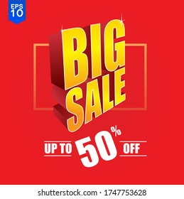 Big Sale 50% Special Offer Vector Template Design in red background