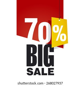 Big Sale 70 percent off red background