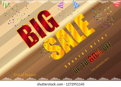 big sale up to 80% end of season special offer tea coffee tone vector illustration eps10