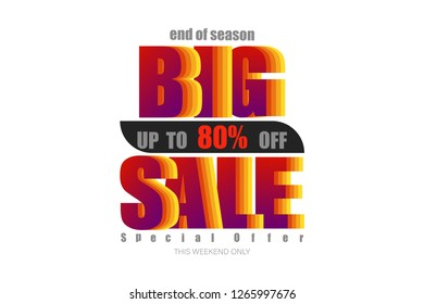 big sale up to 80% end of year special offer colorful tone vector illustration eps10