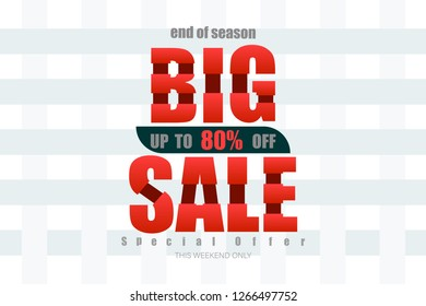 big sale up to 80% end of year special offer bone tone vector illustration eps10