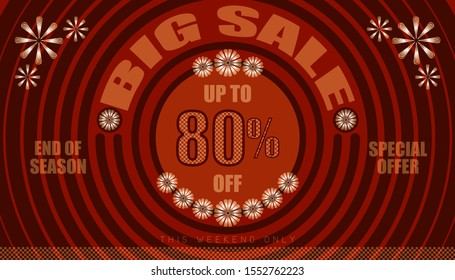 big sale up to 80% end of year special offer. vintage retro style. small to big circle from center. creative poster design. vector illustration eps10