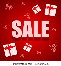 Big Sale abstract red banner with a gift boxes. Vector illustration. Big Sale offer poster