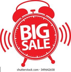 Big sale alarm clock red label, vector illustration