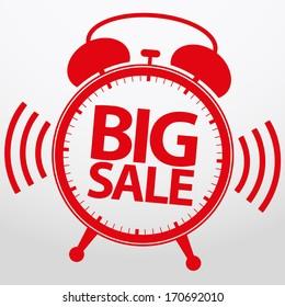Big sale alarm clock, vector illustration