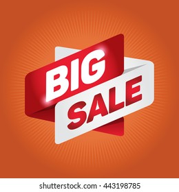 BIG SALE arrow tag sign icon. Discount symbol. Special offer label. Orange background.