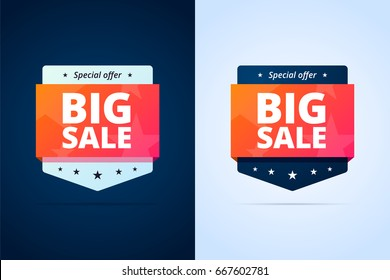 Big sale badges. Two colors variants of banners for promotion. Special offer signs.