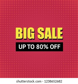 Big sale banner background vector in retro style. 80% off.