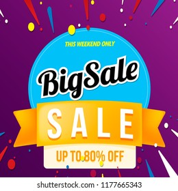 big sale banner blue