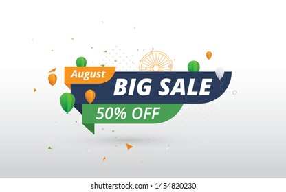Big Sale Banner Design for Indian Independence Day Celebration with 50% Discount Tag