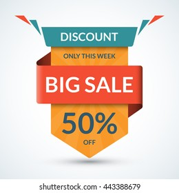 Big sale banner. Discount label. Best offer tag. 50 percent off vector background. Half price colorful sticker. Shopping badge