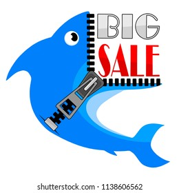 Big Sale banner, Fish with a mouth in the form of an unfastened zipper, this weekend special offer advertising banner template, vector illustration