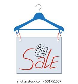 Big sale banner hanging on the hanger. Good shopping label. Vector Illustration fashion discount sale information.