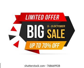 Big sale banner, limited offer, vector eps10 illustration