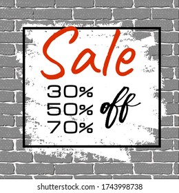 Big sale banner on grunge gray brick wall background. Black market half price off sale graphic poster with shopping tag. Vector illustration. Brown brick wall texture with white brush smears