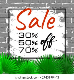 Big sale banner on grunge gray brick wall background with tropical leaves. Black market half price off sale graphic poster with shopping tag. Spring sale. Green maple leaves, frame and typographics