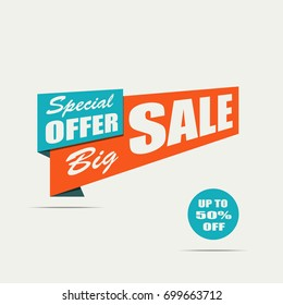 Big sale banner. Orange discount poster on a light background, Sale tag, label, badge. White text. Special offer, Up to 50% off. Vector illustration, eps10