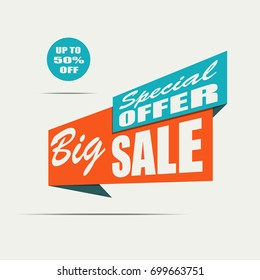 Big sale banner. Orange discount poster on a light background. White text. Special offer. Up to 50% off. Vector illustration, eps10