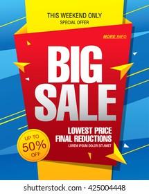 Big sale banner, poster. Sale background. Sale label