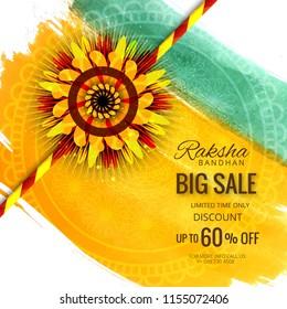 Big sale banner or poster for indian festival of raksha bandhan celebration background