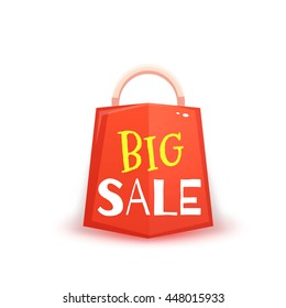 Big sale banner with red packet. Vector illustration