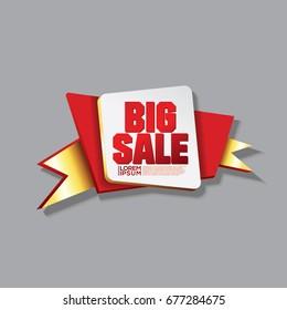 Big Sale Banner Ribbon Red Gold Color Vector Illustration