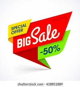 Big Sale banner. Special offer, up to 50% off. Vector illustration.