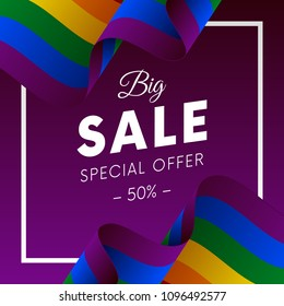 Big sale banner or sticker. Special offer. Fifty percent off. LGBT flag. Vector illustration.