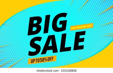 big sale banner template blue background
