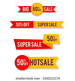 big sale banner template collection.red and yellow