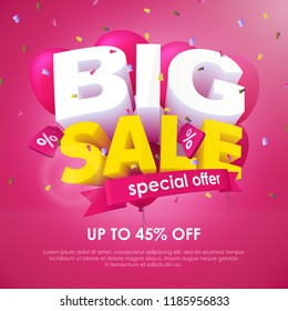 Big Sale banner template design. Special offer, up to 45% off. End of season special offer banner. 3d inscription and balloons on a pink background. Sale poster for the promo. Vector Illustration
