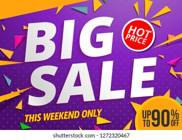 big sale banner template design color purple.