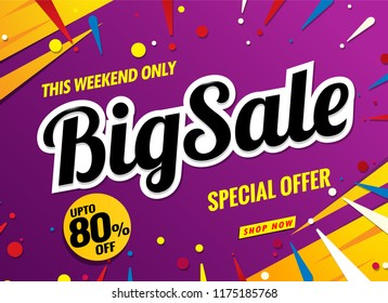 big sale banner template purple