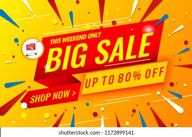 big sale banner template red and yellow