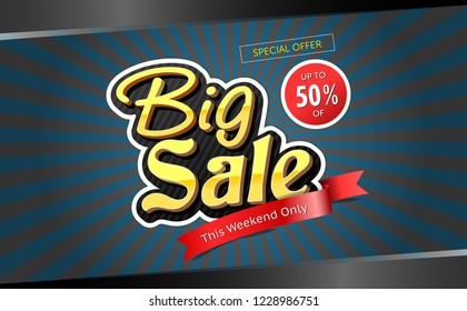 Big Sale banner, this weekend special offer advertising ribbon banner template, vector illustration.