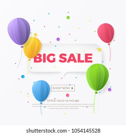 Big sale banner with white paper, 3d flying paper balloons and colorful confetti. Vector background with speech bubble for design of holiday flyers and newsletters with discount offers.