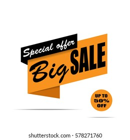Big sale banner. Yellow and black discount poster, Sale tag, label, badge, sticker, flat style. Special offer, Up to 50% off. Vector, eps10