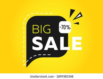 Big sale banner. Yellow tag templates with special offers for purchase, strokes and elements. Special offer up to 50% off.