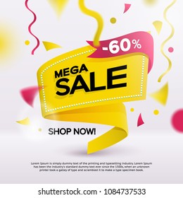 Big sale banner for your promotion. Limited offer, discounts. Yellow sticker template with defocused objects on the background. Sale banner tag. Flat fashionable geometric style. Vector illustartion