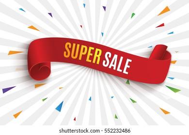 Big Sale Banner.Super Sale Banner Ribbon. Vector Illustration