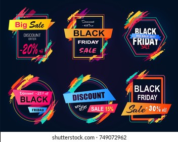 Big sale Black Friday, new discount offer -20% off, set of emblems with geometric shapes and ribbons, collection isolated on vector illustration
