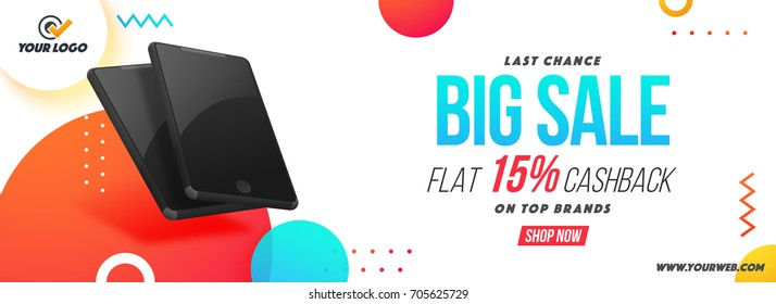 Big Sale and Cashback Discount Offer social media banner with illustration of realistic smartphones.