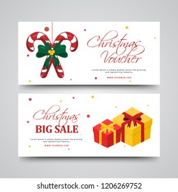 Big Sale Christmas gift voucher with illustration of gift boxes and candy canes. Horizontal template design.