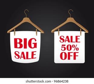 big sale clothes hanger over black background. vector