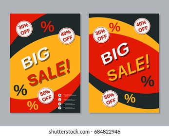 Big sale colorful two-sided flyer, booklet, brochure cover vector design template