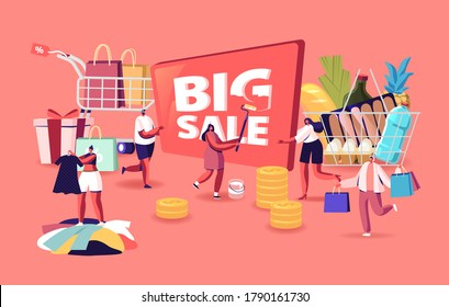 Big Sale Concept. Characters Shopping at Seasonal Discount. Cheerful Shopaholic People with Trolley Full of Purchases and Grocery. Happy Men and Women with Packages. Cartoon People Vector Illustration