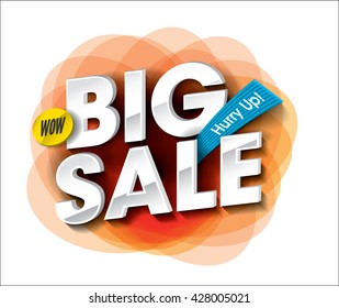 Big Sale concept with colorful round abstract label banner.