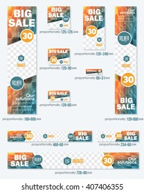 Big Sale Concept Multicolored Low Poly Background Business Standard 10 Sizes Website Banners Template Big Set